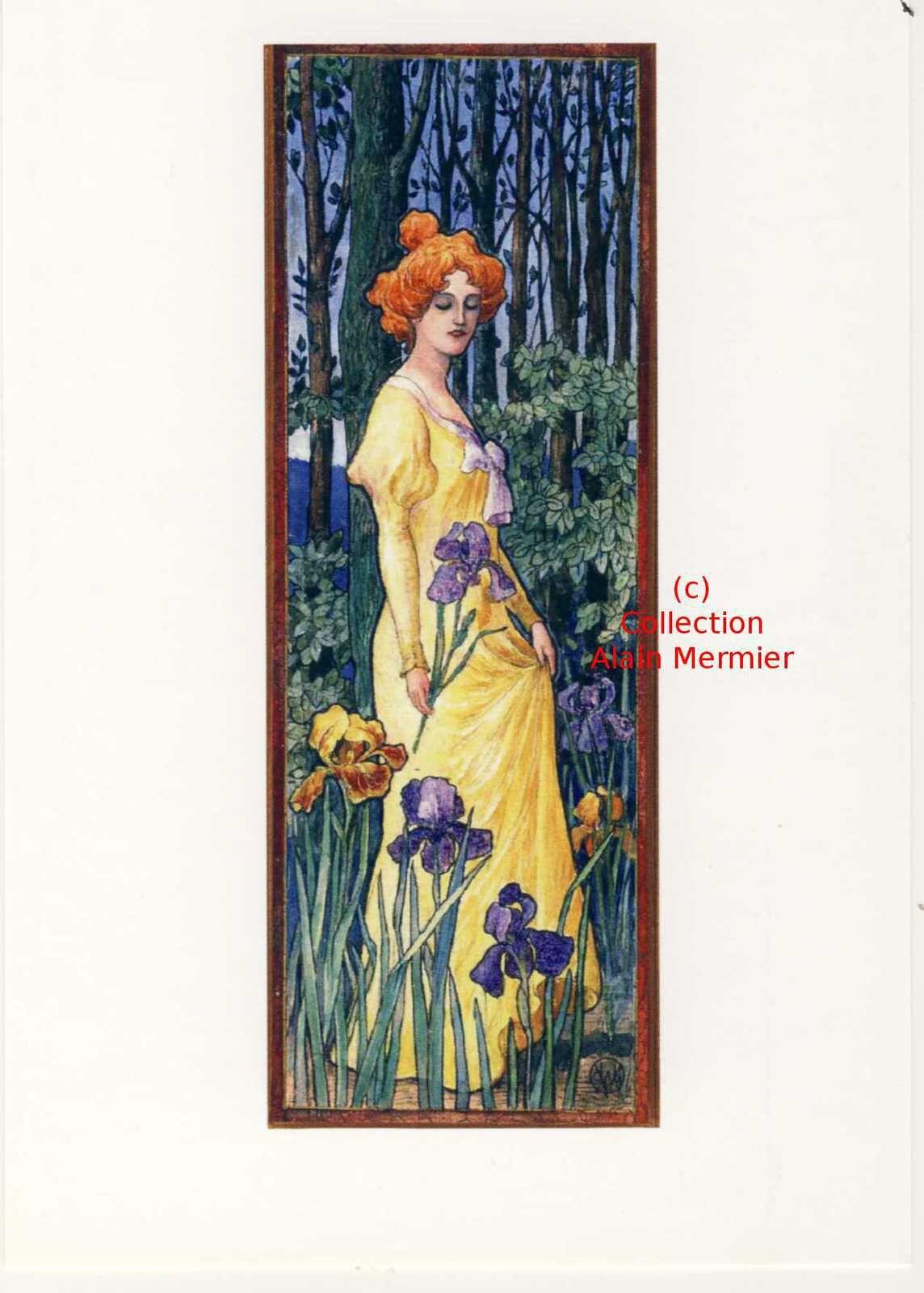 Iris -3527- CPM : Illustrateur HANSI. Femme et iris. France. 2009.