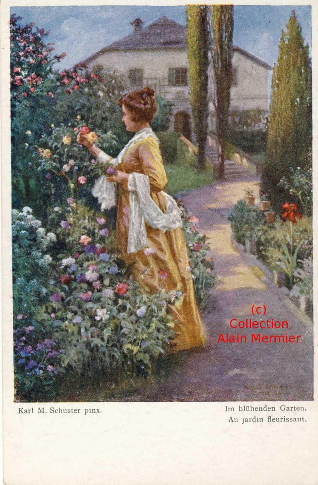 Iris -3517- Illustrateur SCHUSTER Karl : Au jardin fleurissant. Allemagne.