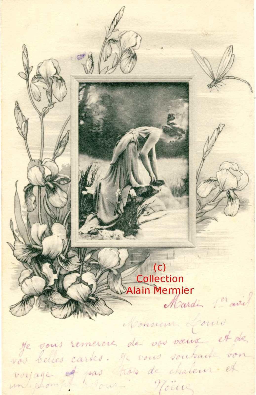Iris -3610- Art nouveau. Femme au bord de l'eau. Entourage iris. France. 1902.