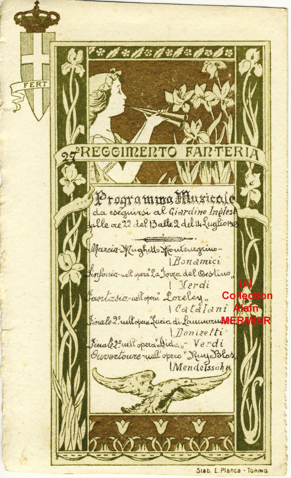 - 1993-  *  27th Regiment of Infantry.  *  Program  Musical.  *  July 14th, 1903.  *  Turin