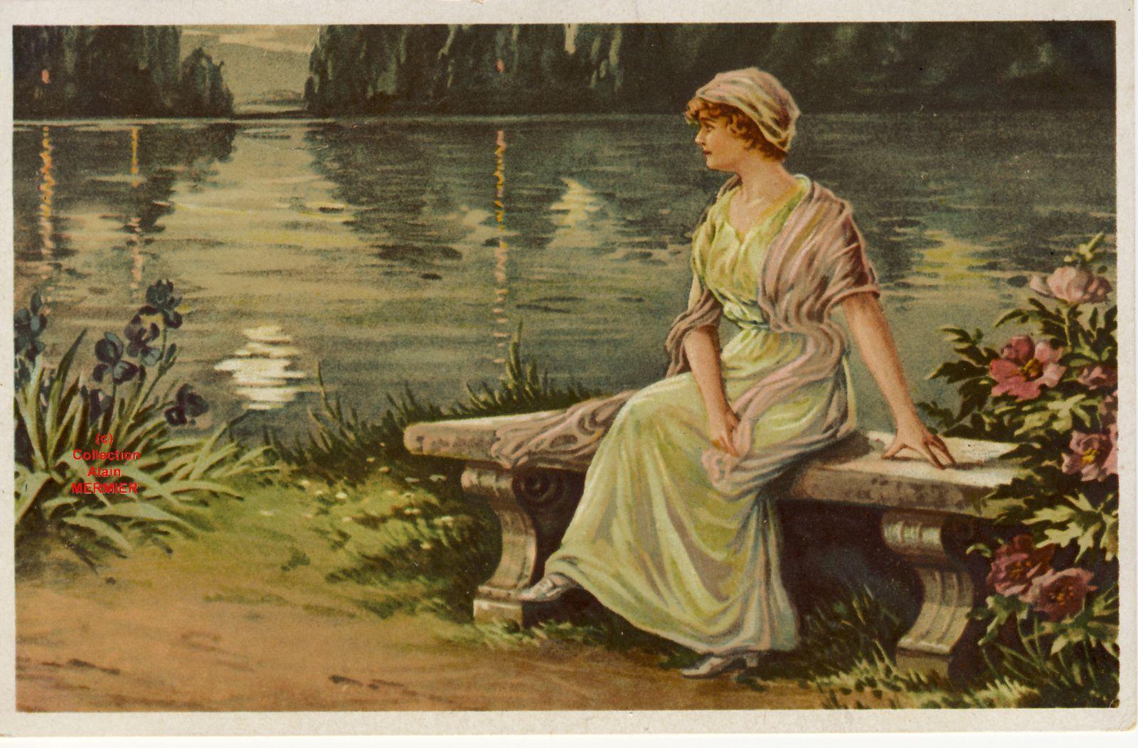 Iris -1987- STUDENT E. Abend am see. Soir au lac. Allemagne.