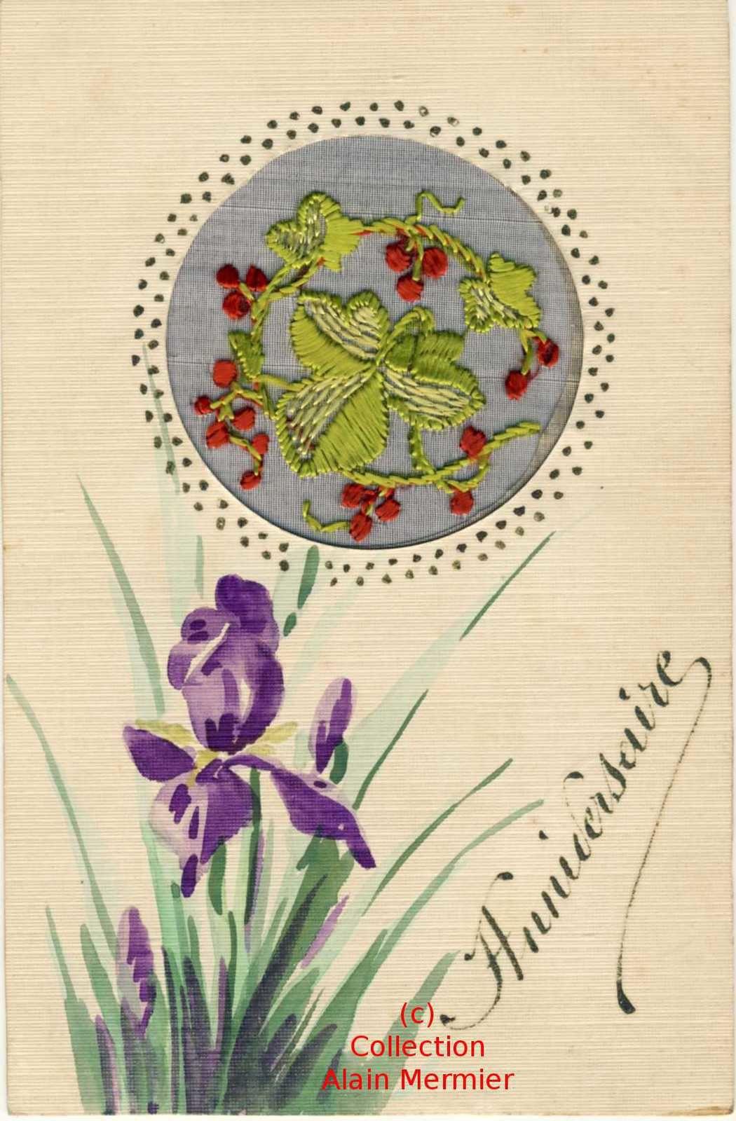 Iris -3636- Peinte main + brodée sur soie. Anniversaire. France. 1925.