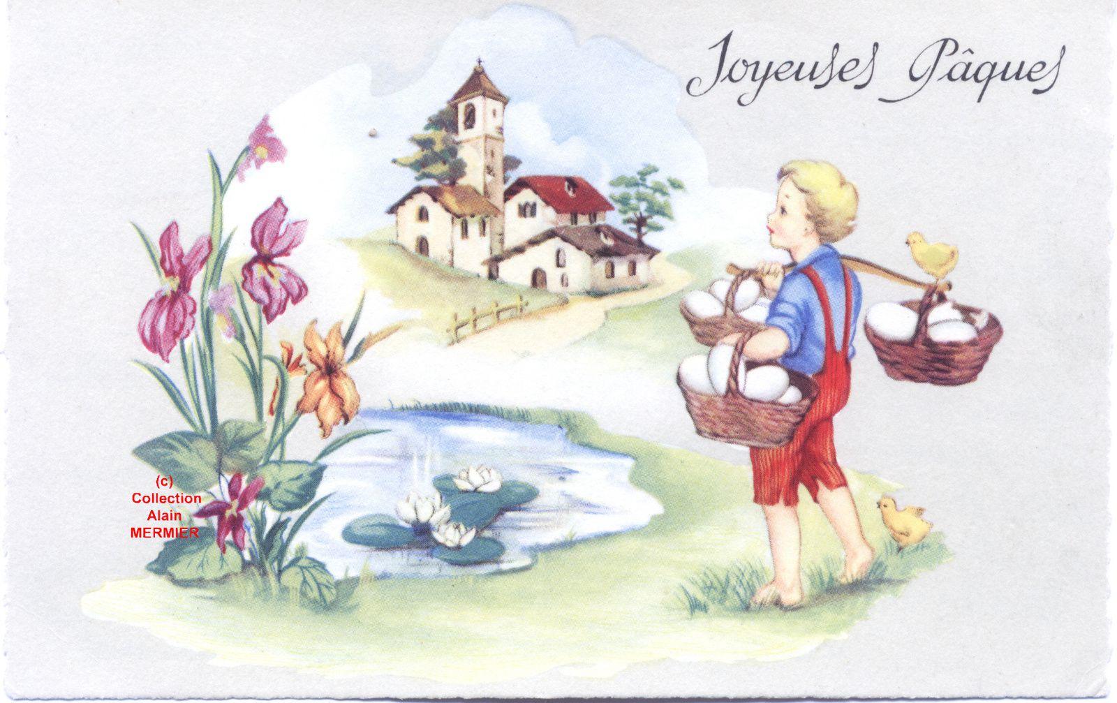 Iris -1954- Carte postale semi-moderne. Joyeuses Pâques. France.