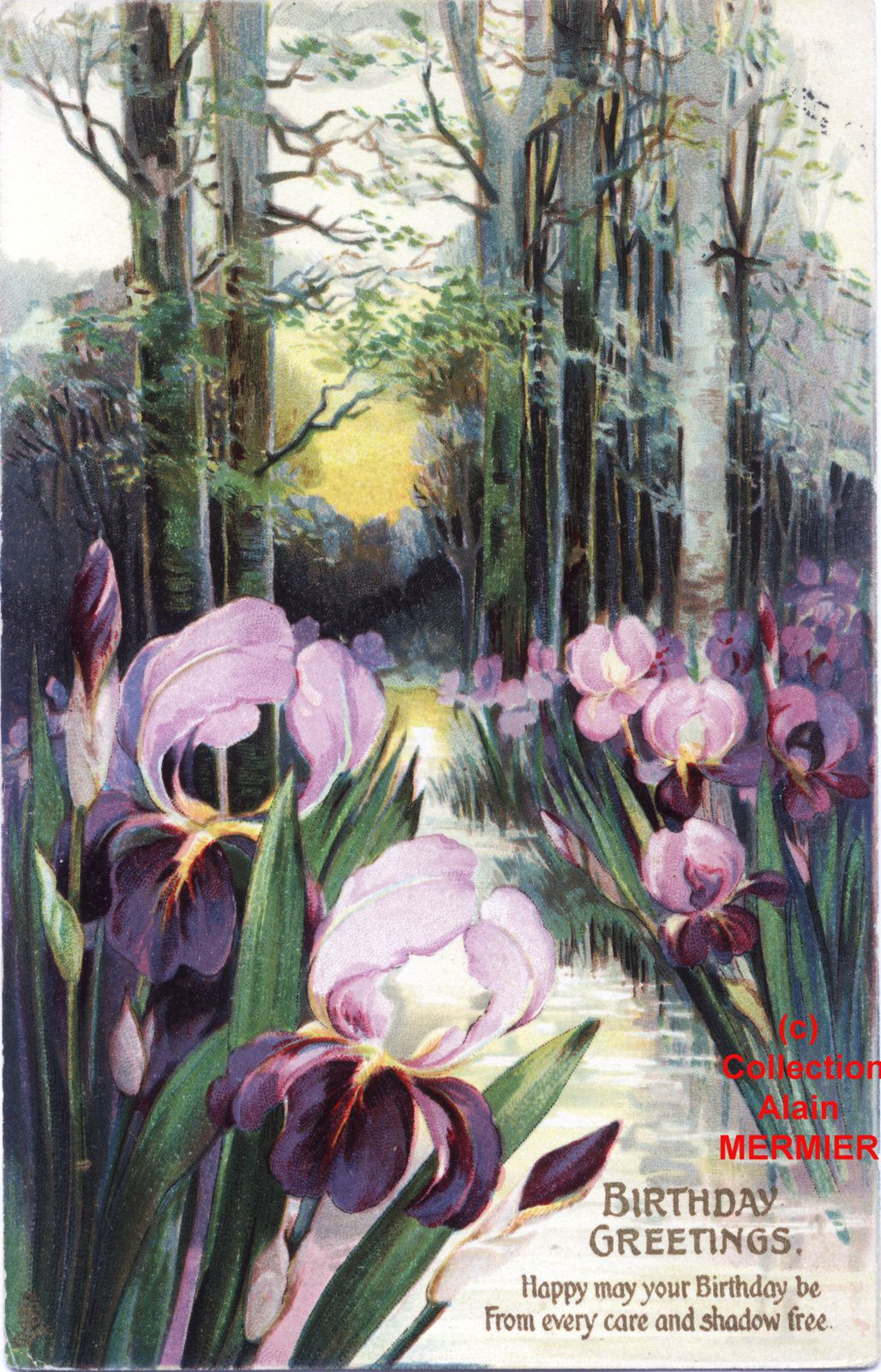 Iris -1944- Birthday greetings.  Landscape. U.S.A. 1914.