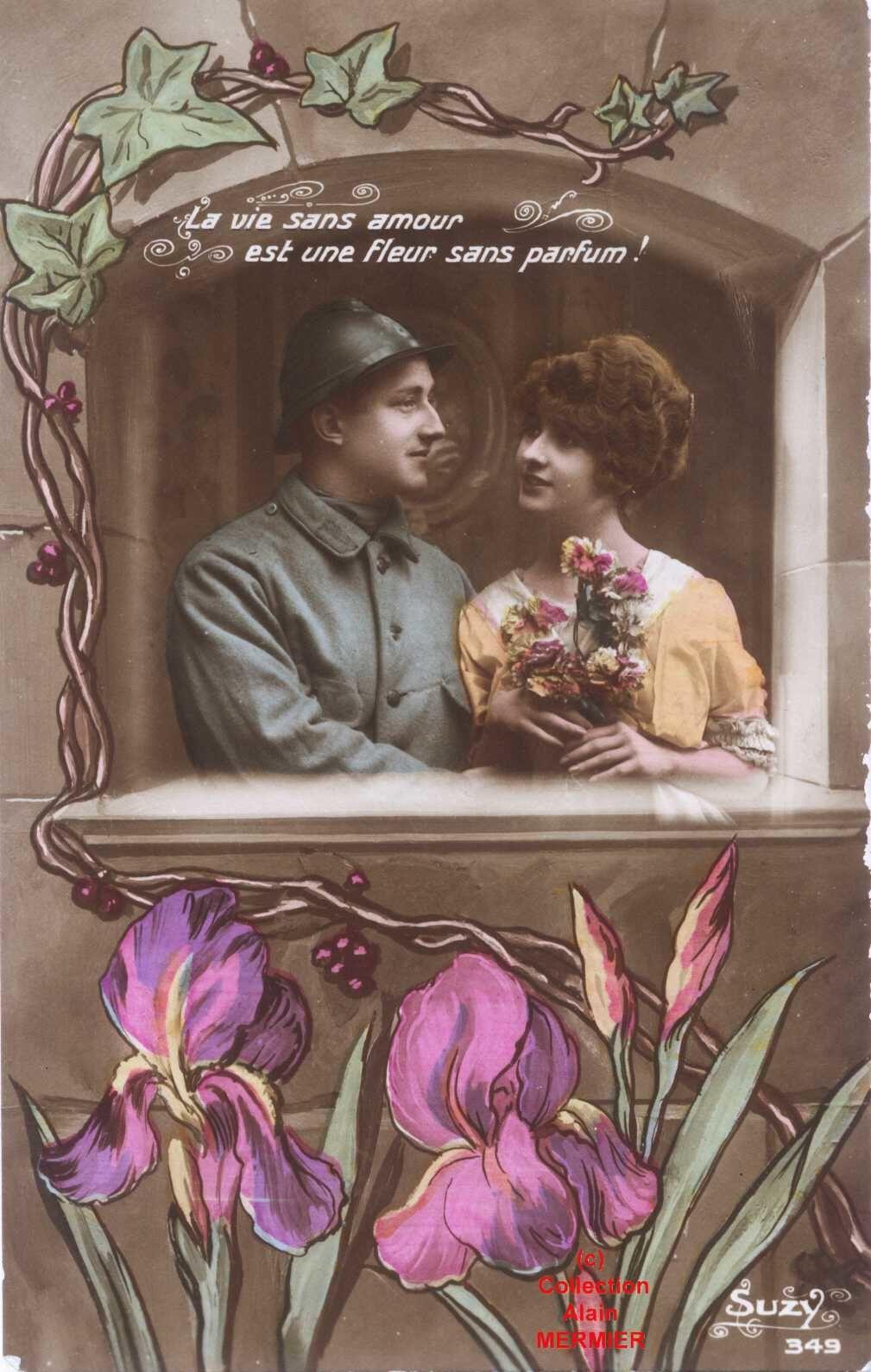 Iris -1939- Colorisée. La vie sans amour est une fleur sans parfum. France. 1914-18