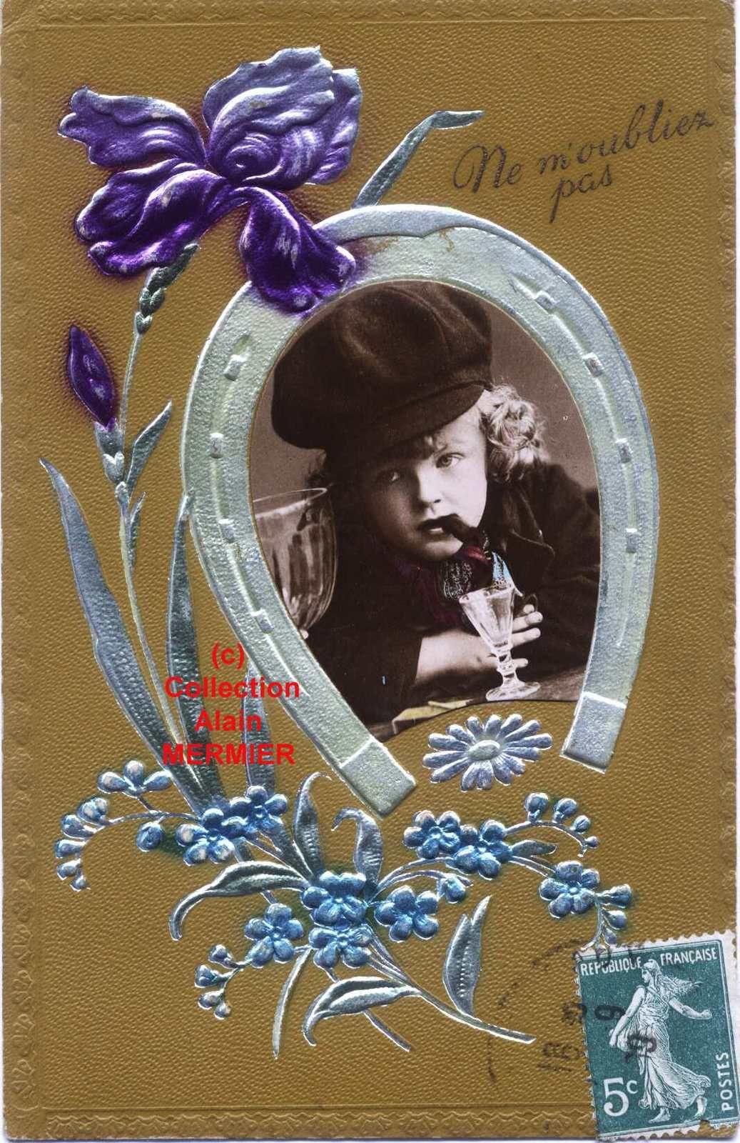 Iris -1932- Ne m'oubliez pas. Metallic + photo d'enfant fumant devant un verre. France. 1909.