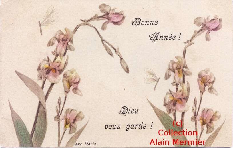 0733-Happy New Year. God keeps you. Religion. France. 1903.