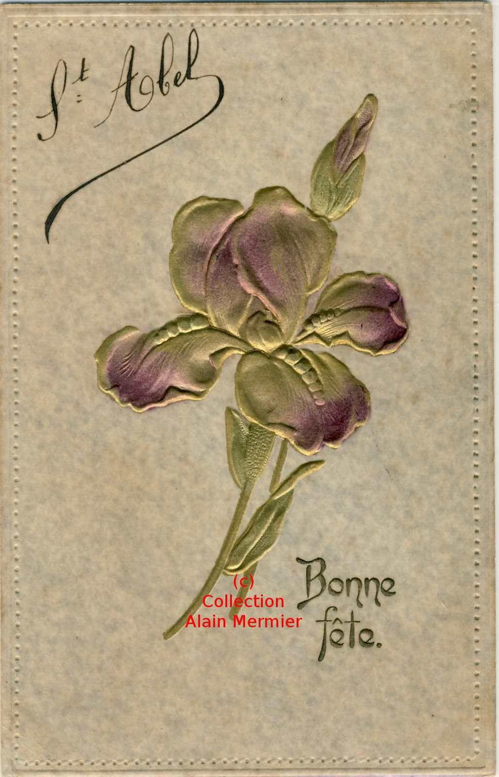 Iris -3645- Bonne fête. Saint Abel. Gaufré. Métallic. France.