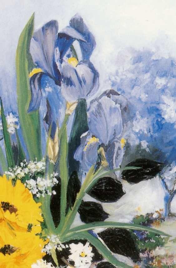 Iris -3646- CPM. M. VAN HILLE : &quot&#x3B;Fuite en bleu&quot&#x3B;. France.