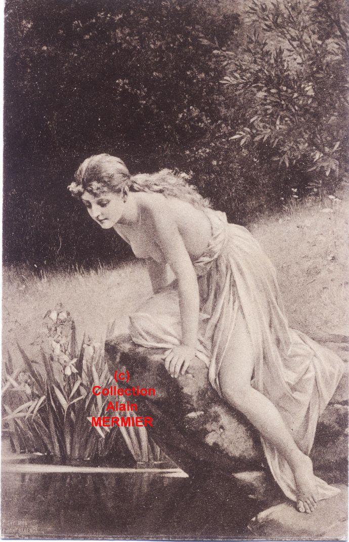 Iris - 1846 - Illustrateur THUMANN. Femme se mirant dans l'eau. Allemagne. 1917.