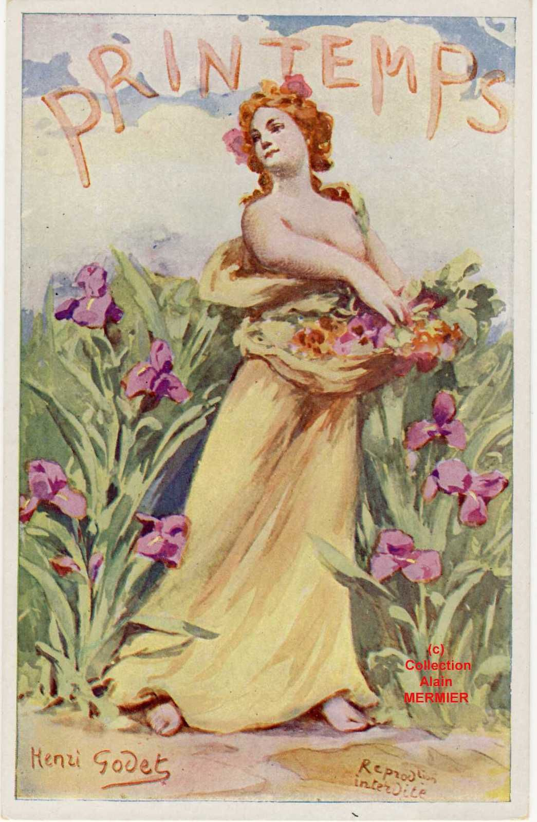 Iris - 2114- Illustrateur Henri GODET : Le printemps. France.