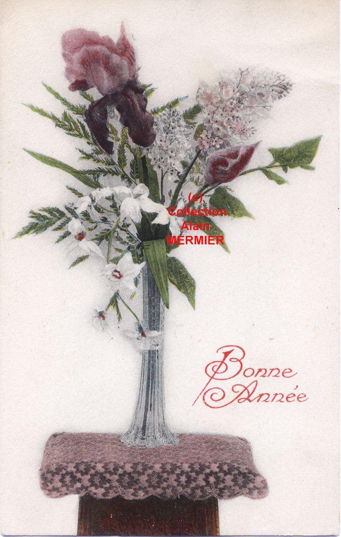 -1792- BONNE ANNEE. Vase, bouquet, lilas, iris, ...