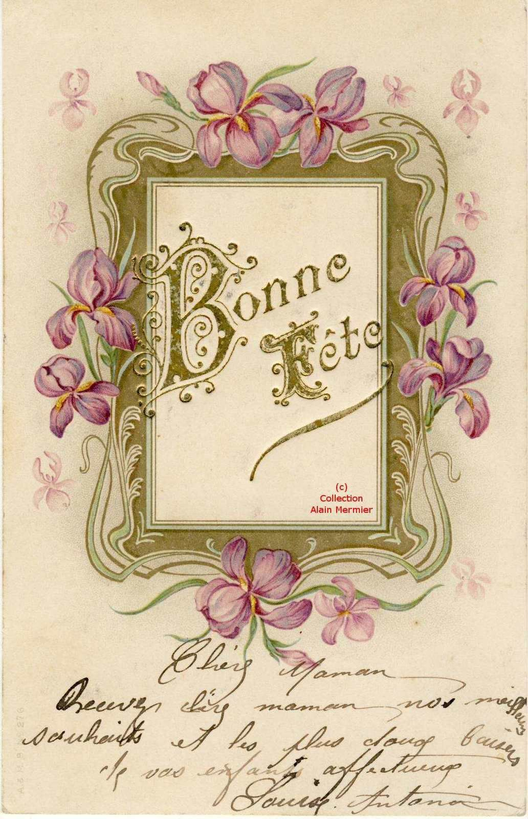 Iris - 1764 - Carte porte photographie. 2 garçons. France. 1907.