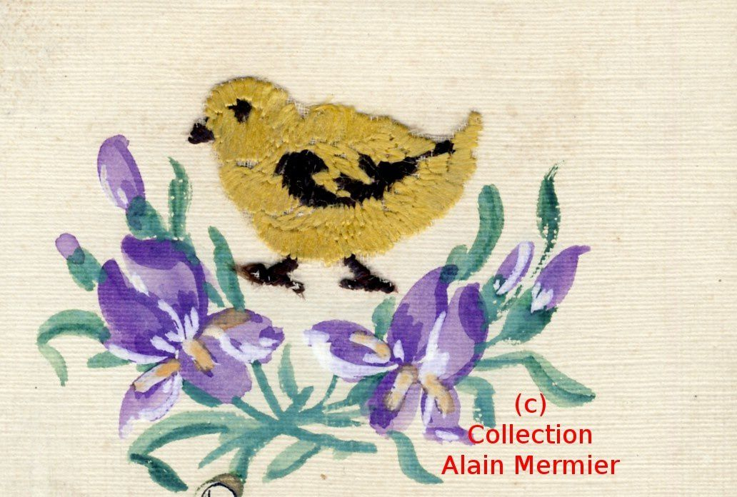 IRIS  - 3651 - Brodée. Embroidered.  Pâques. Eastern. Poussin. France.