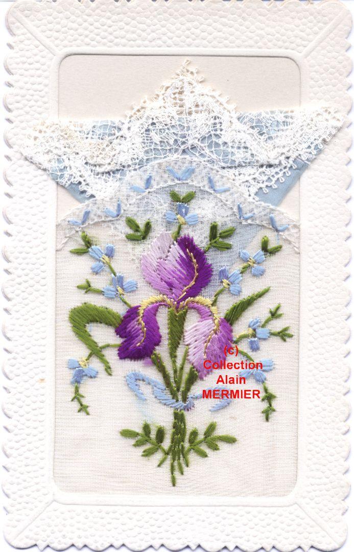 IRIS - 1734 - Brodée. Pochette bleue. Iris et myosotis. France.
