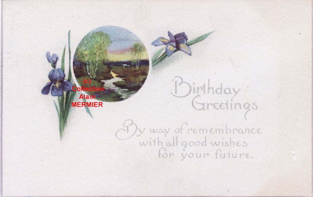IRIS - 1726 - Birthday greeting. River. U.S.A 1910.