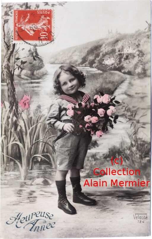 Iris -0664- Heureuse année.  Fillette et bouquet. France.1911.