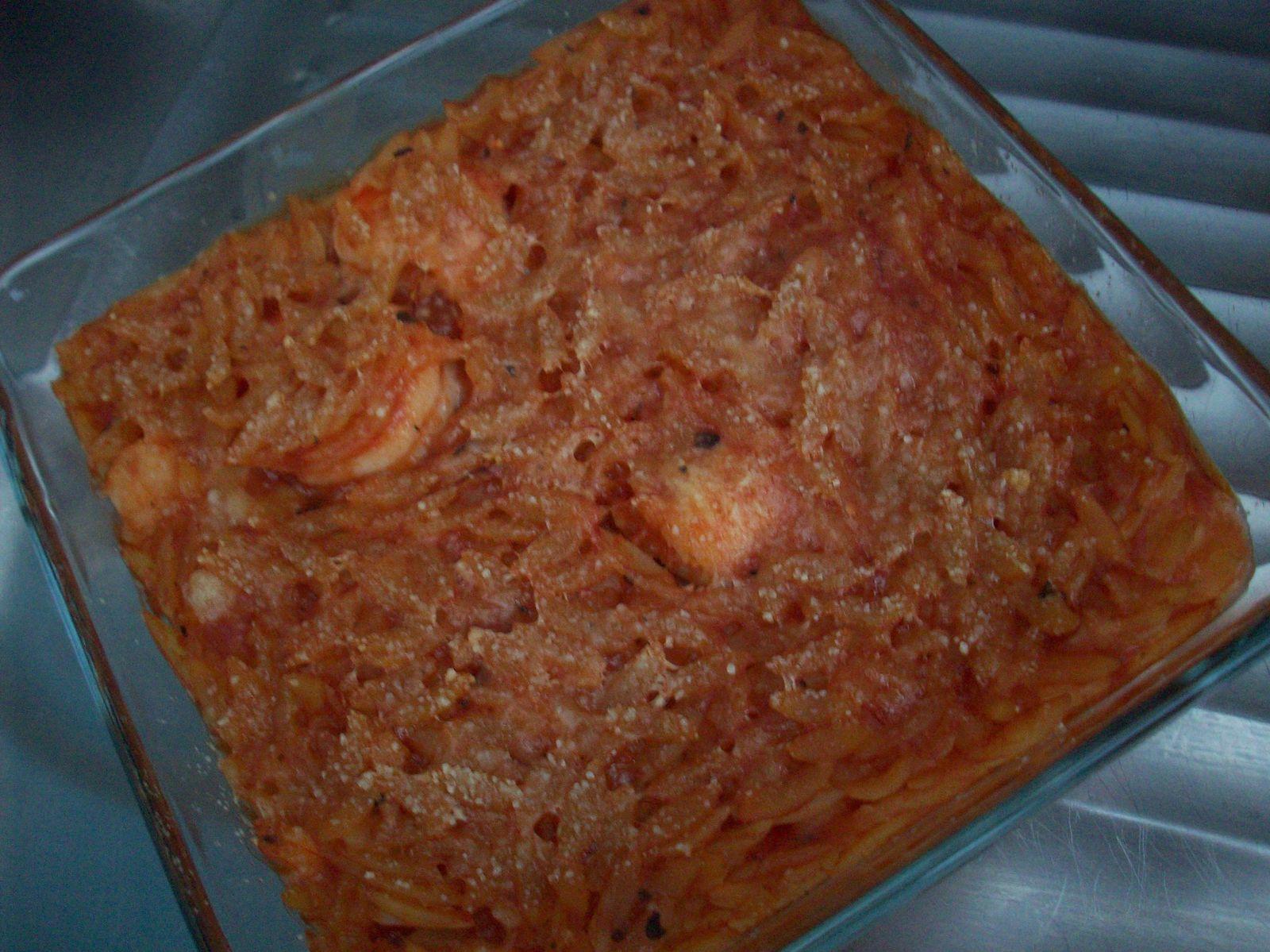 Gratins de pâtes grecques aux scampis