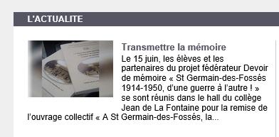 Notre projet MEMOIRE sur le site de l'Académie de Clermont-Ferrand