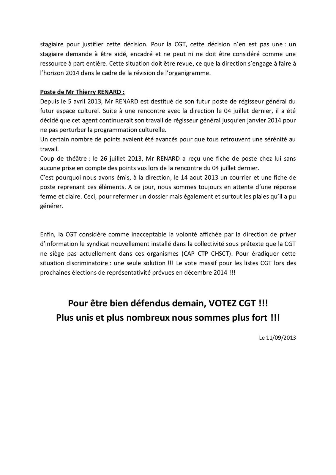 """Tract """"CCH : La CGT s'installe"""""""