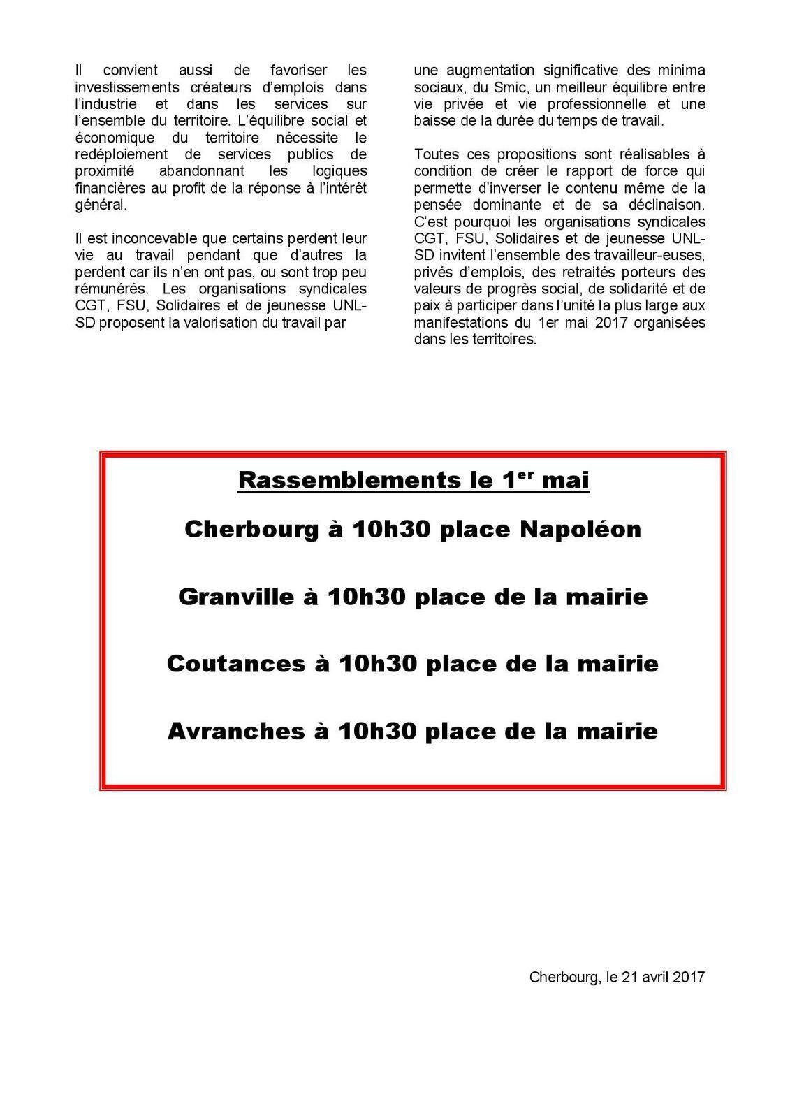 Mobilisation du 1er mai 2017