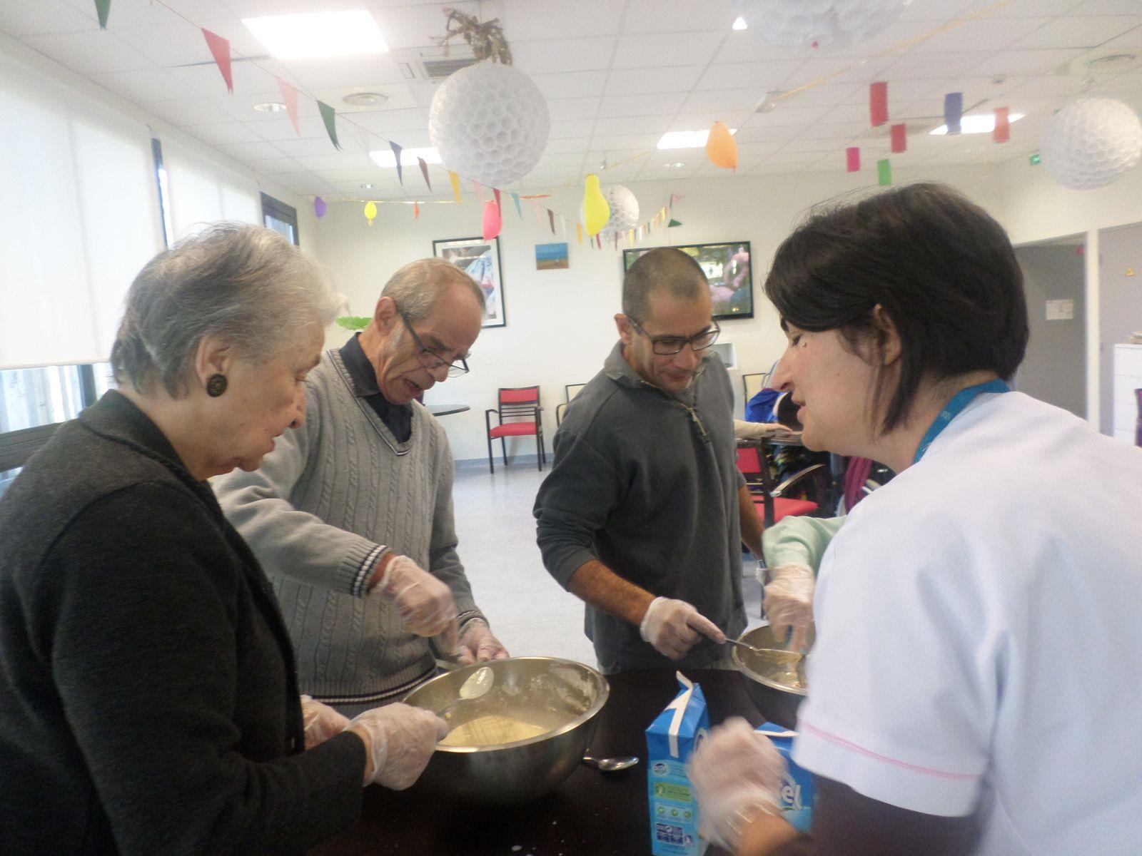 préparation d'une pâte à crêpes et petits jeux