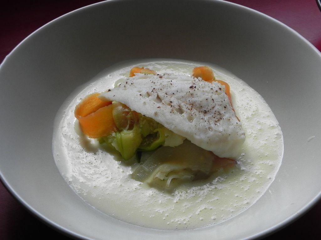 Tagliatelles de légumes sous dos de cabillaud et sa sauce hollandaise
