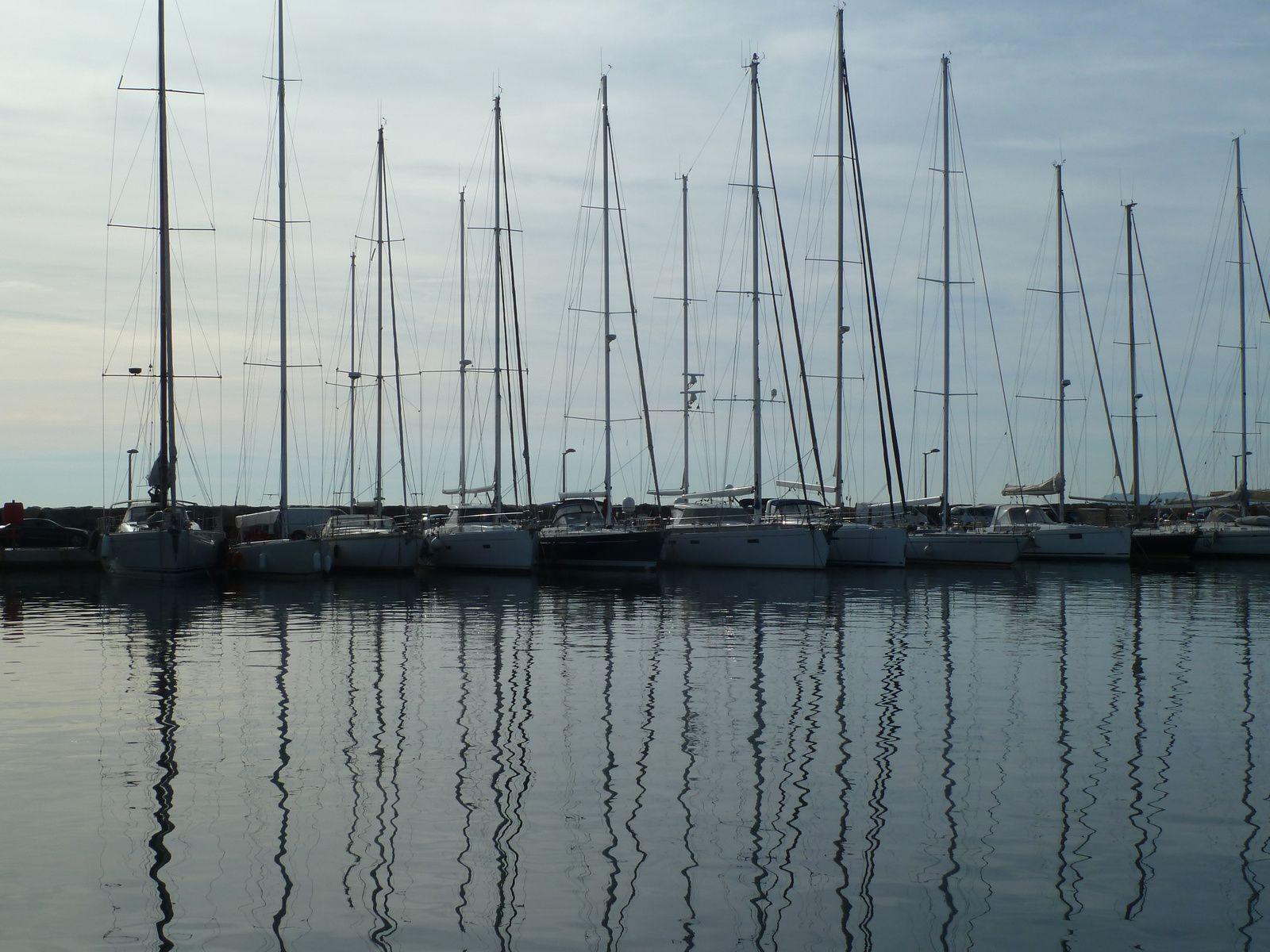 Un petit bateau de pêche fraichement repeint perdu parmi les voiliers de plaisance.