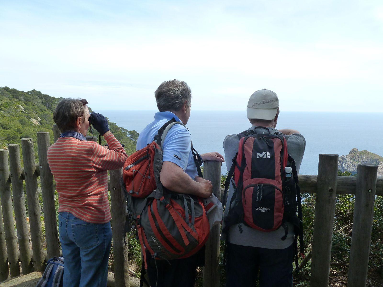 Du haut du sentier, l'îlot de la Gabinière, Agnès, Gérard et Claude admirent le paysage...