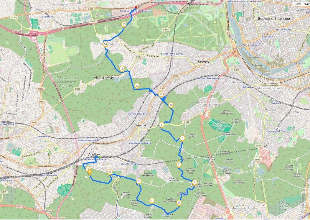 Randonnée de Viroflay à Marnes-la-Coquette 15,6 km.