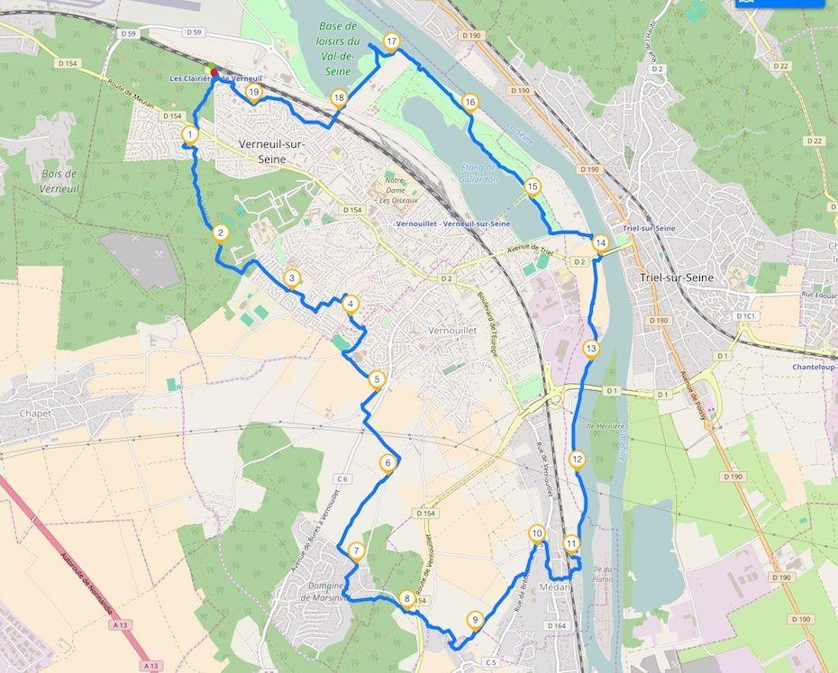 Randonnée en boucle de Verneuil-les-Clairières - 19,5 km.