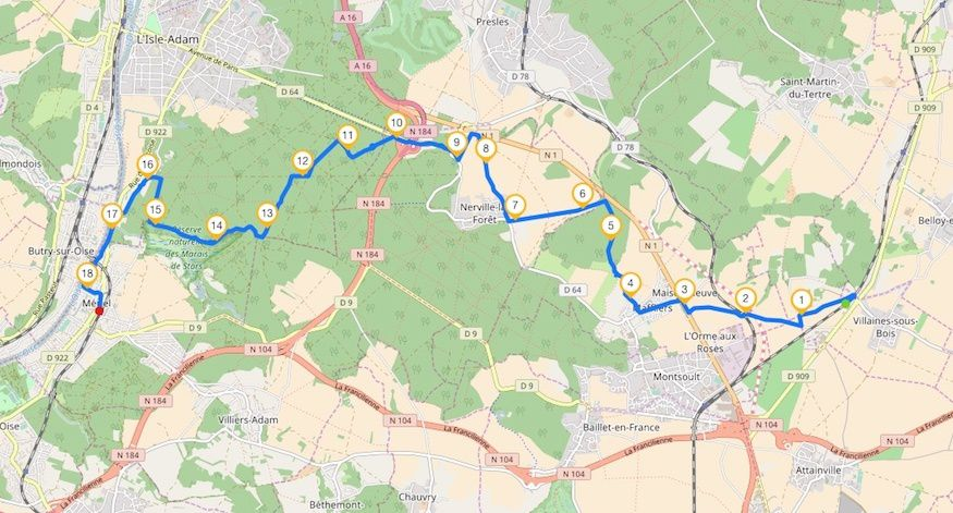 Randonnée de Villaines-sous-Bois à Mériel - 18,5 km.