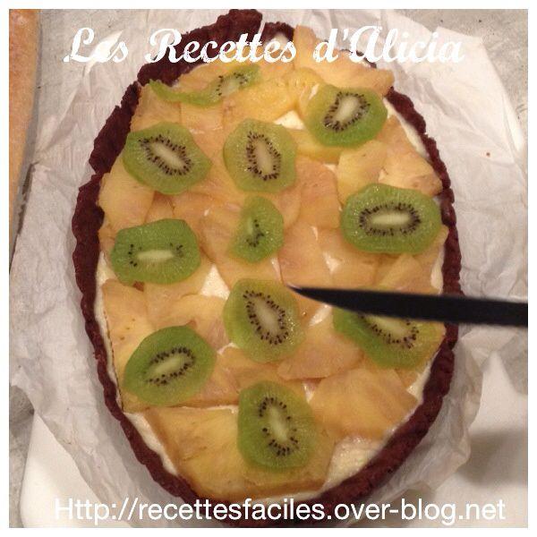 Tarte ananas kiwi chocolat