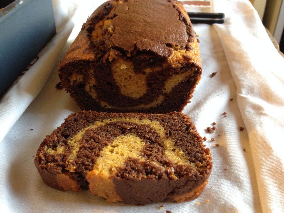 Cake marbré sucré courge butternut / chocolat