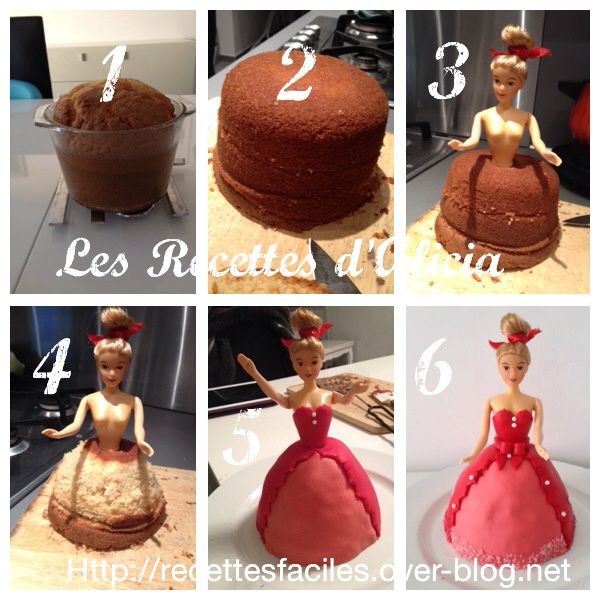 Etapes du gâteau barbie