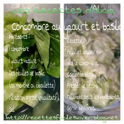 Concombre au yaourt et basilic