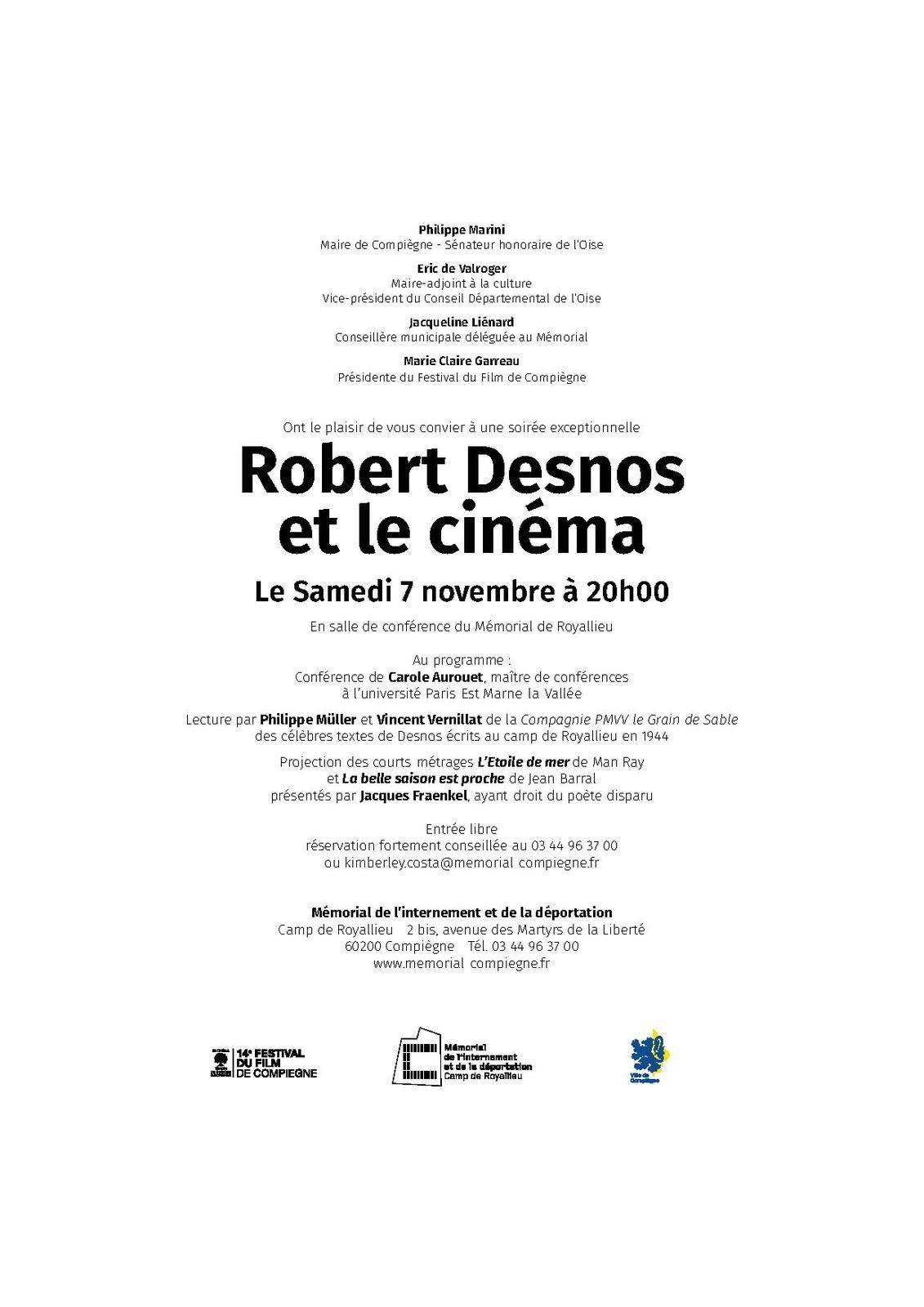 Soirée &quot&#x3B;Desnos et le cinéma&quot&#x3B; au Mémorial de l'Internement et de la Déportation à Compiègne samedi 7 novembre