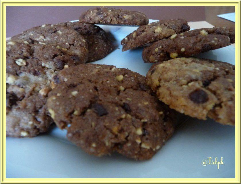 Cookies aux pralins et pépites de chocolat.