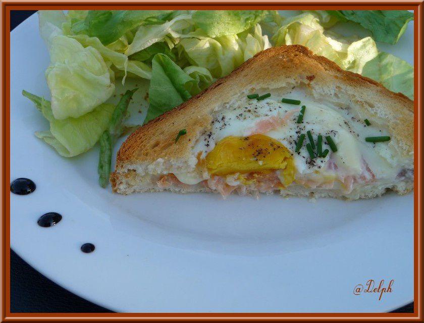 Croque saumon oeuf