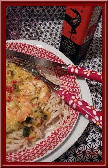 Nouilles japonaises aux gambas pimentées et mascarpone.