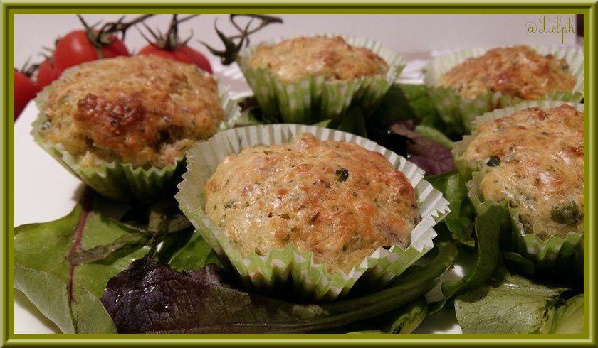 Muffins aux petits pois et aux  lardons