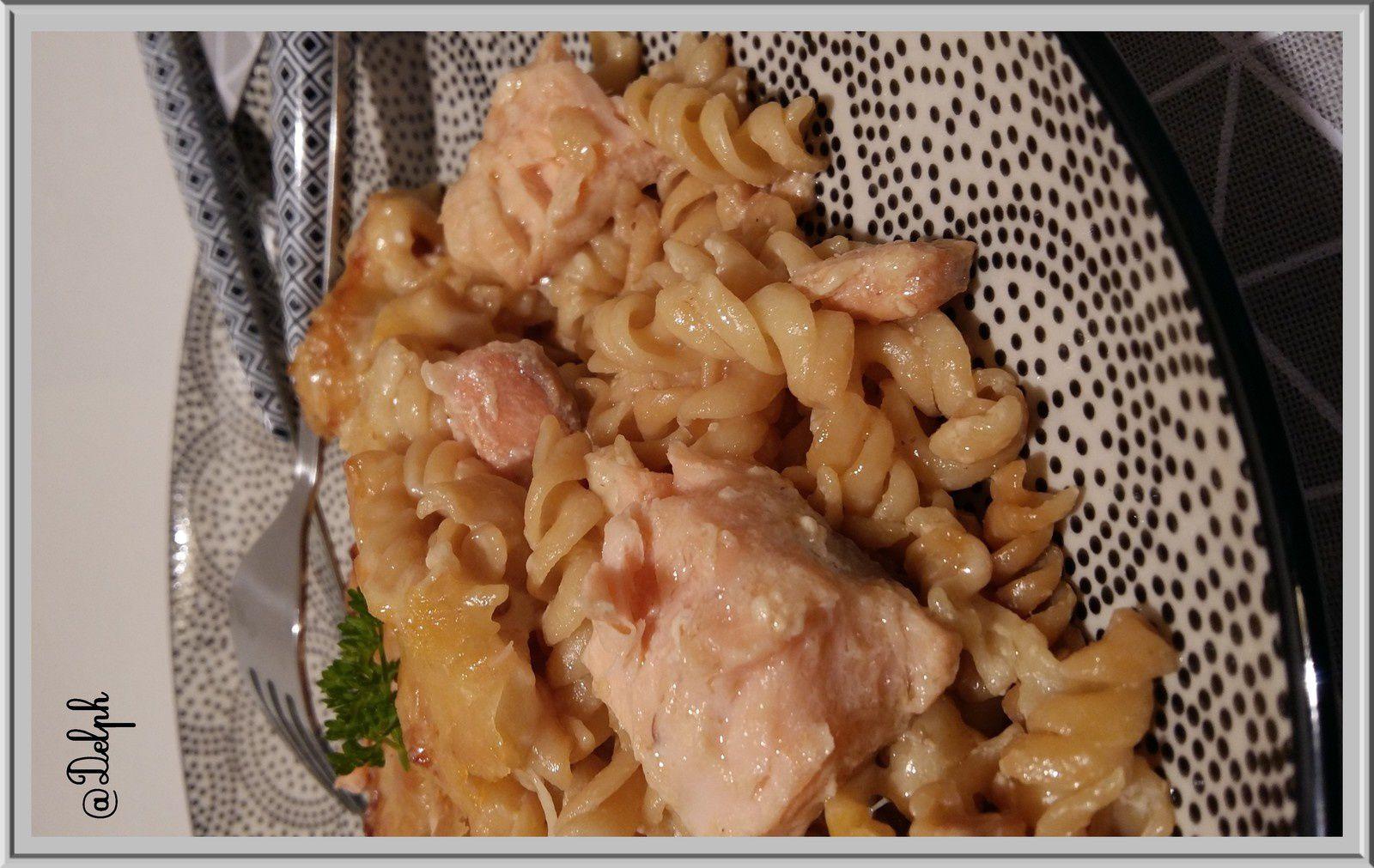 Gratin de tortis et saumon mariné à la sauce soja