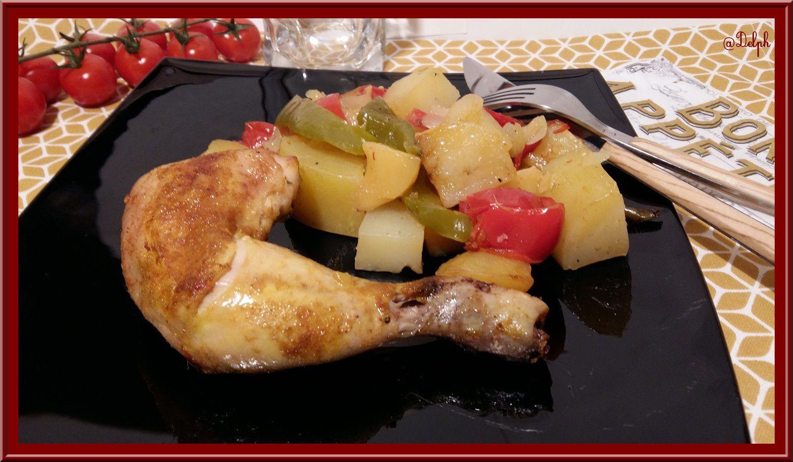 Cuisses de Poulet rôti à l'huile d'argan et aux petits légumes