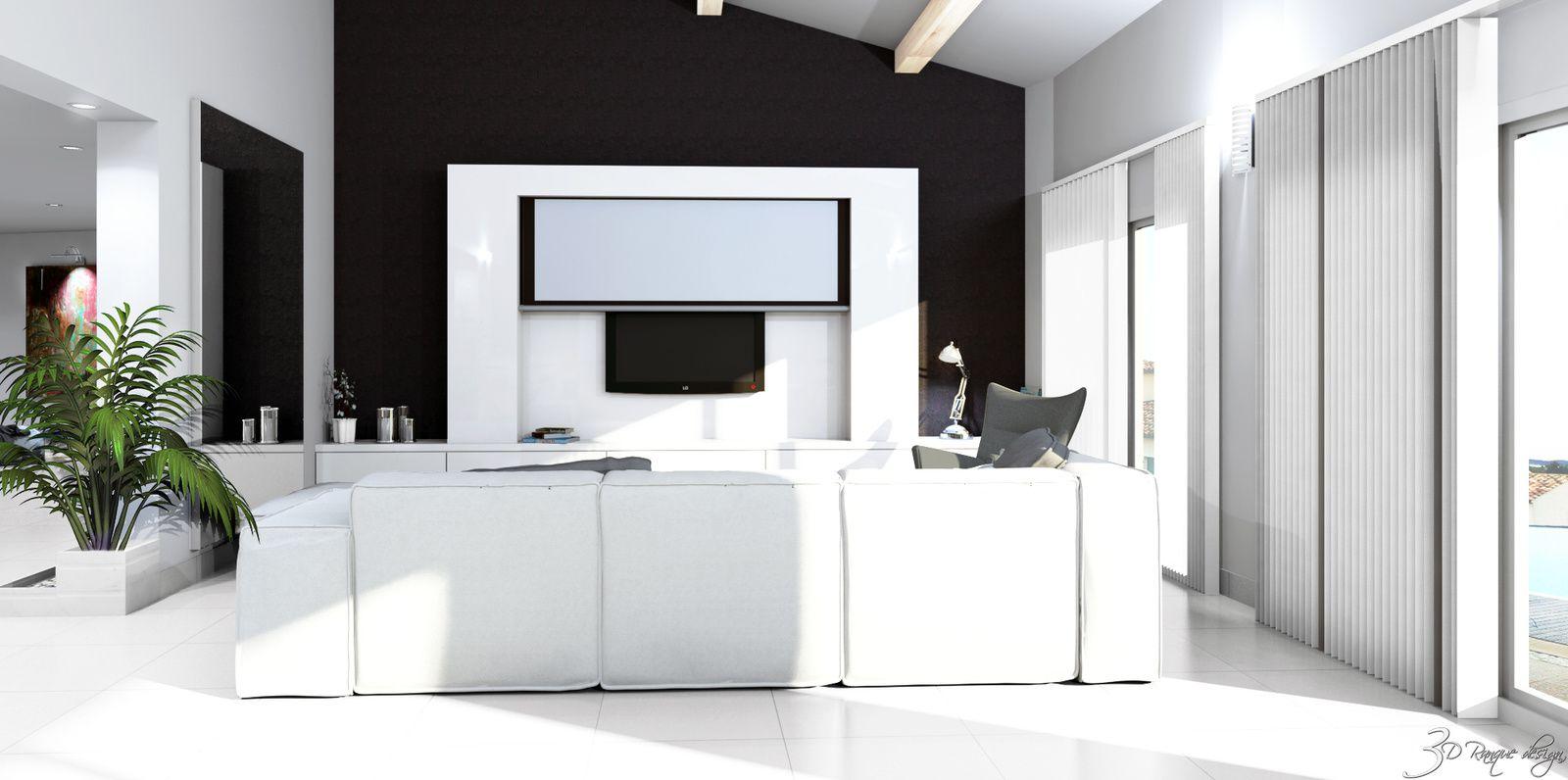 projet am nagement int rieur entr e 2 salons coin cuisine. Black Bedroom Furniture Sets. Home Design Ideas