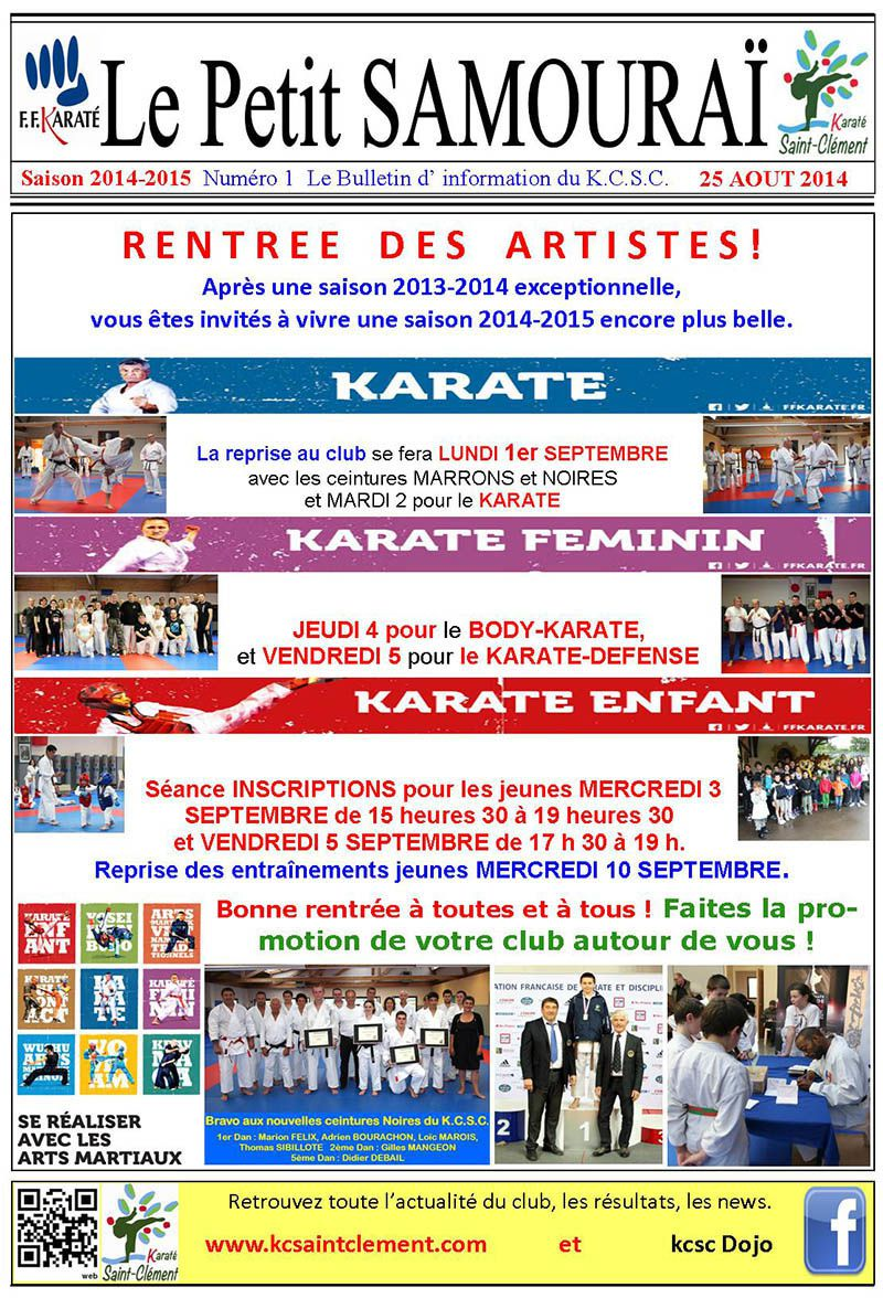 REPRISE AU KARATE CLUB