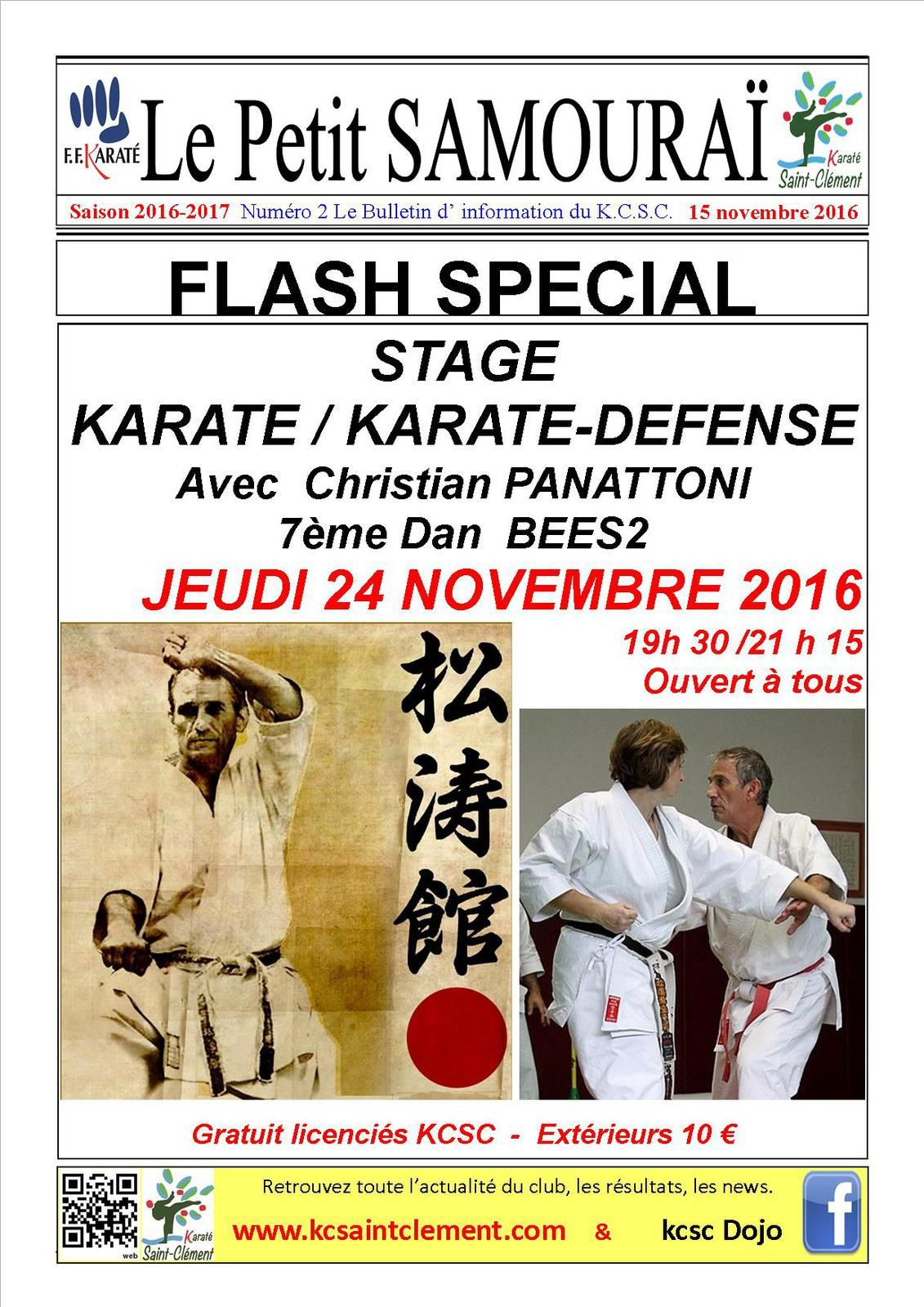 STAGE KARATE / KARATE-DEFENSE JEUDI 24 NOVEMBRE