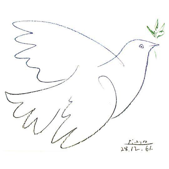Colombe de la Paix - Pablo Picasso. La Convention dit que les Etats doivent assurer protection et soins aux enfants victimes de la guerre. Page 53 - Le premier livre de mes droits d'enfant.