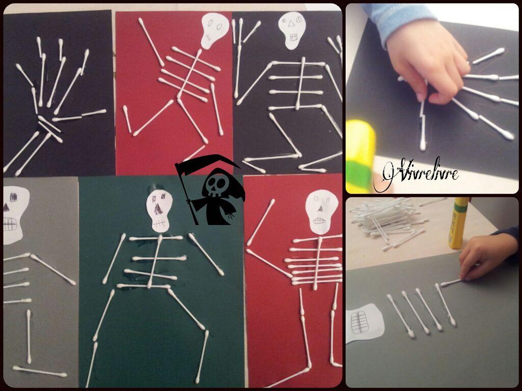 Squelettes en coton-tige, une activité qui a ravi mon trio! Simple et efficace!