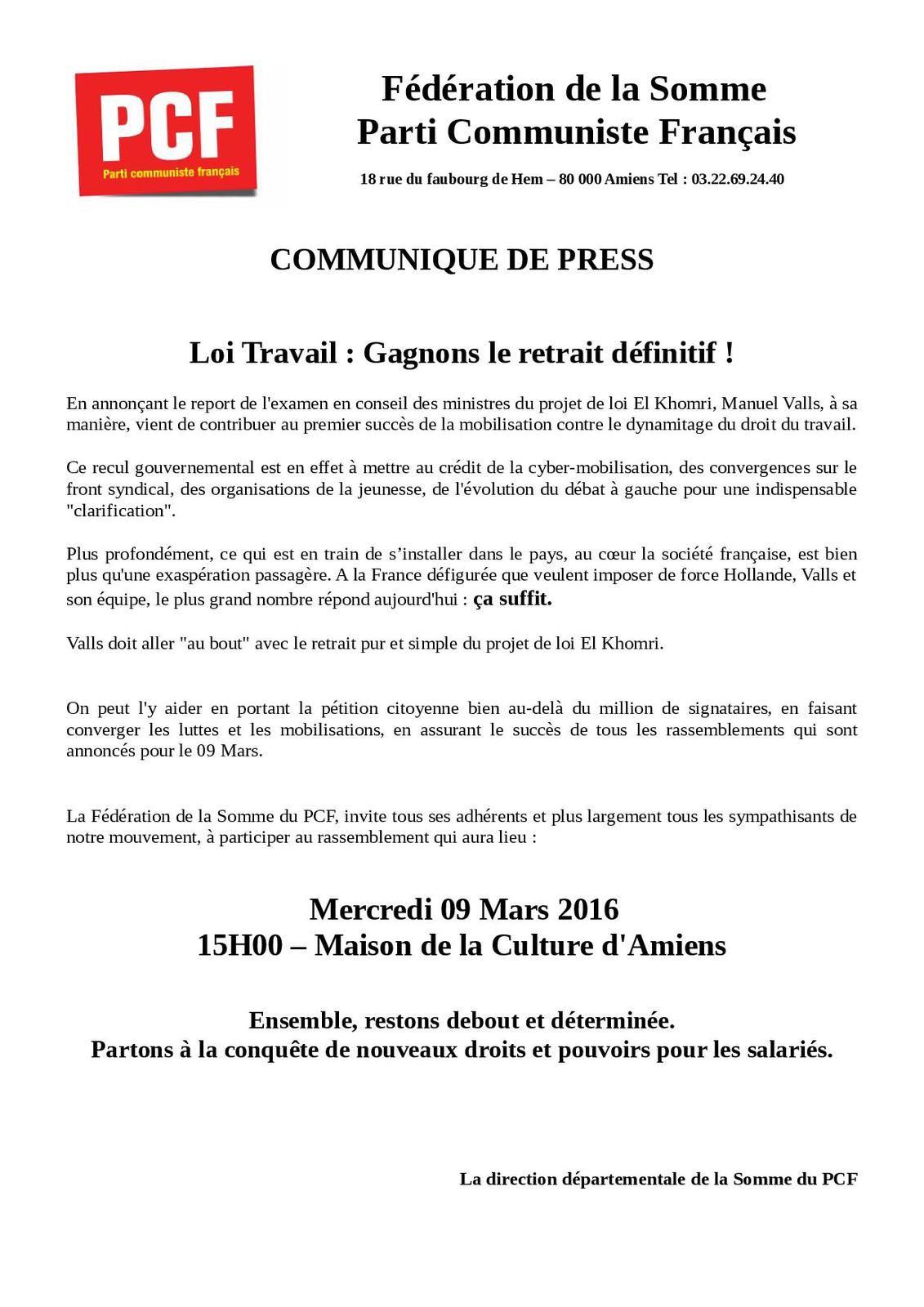 Communiqué de presse rassemblement contre la loi travail 09 mars