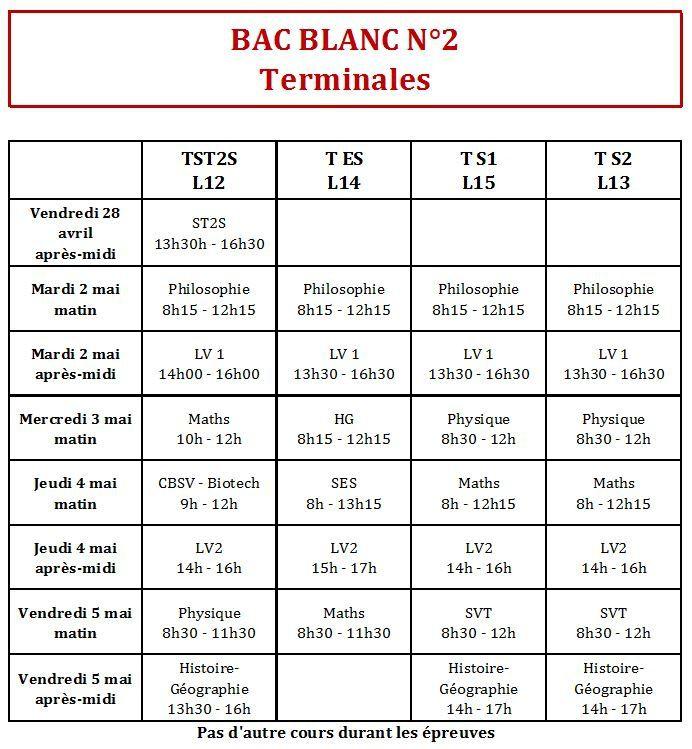 Attention : Planning du 2ème Bac Blanc Premières et Terminales